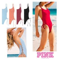 PINKスタイルUPワンピース♡RIBBED LACE-UP ONE-PIECE