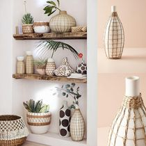 関税送料込♪【Anthropologie】Wrapped Seagrass Vase☆花瓶