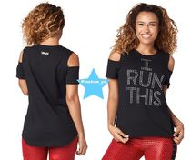 H30.3月【ZUMBA】I Run This Cold Shoulder Tee(Black)Z1T01418