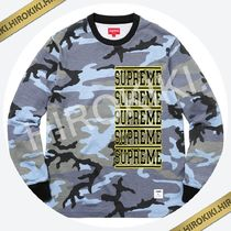 【18SS】Supreme Stacked L/S Top ロンT 長袖 Blue Camo 迷彩