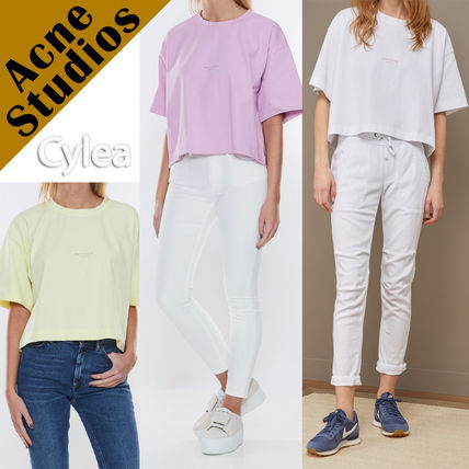 Acne Tシャツ・カットソー Acne*Cylea ロゴ付 ボクシーフィット クロップドTシャツ