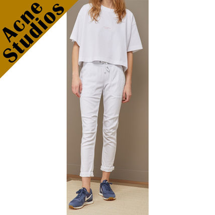 Acne Tシャツ・カットソー Acne*Cylea ロゴ付 ボクシーフィット クロップドTシャツ(3)