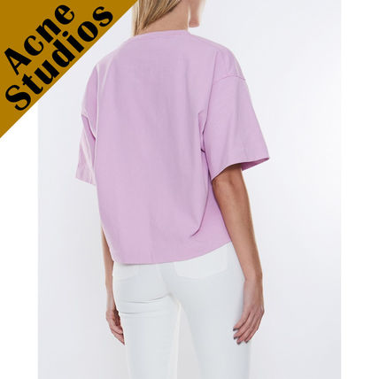 Acne Tシャツ・カットソー Acne*Cylea ロゴ付 ボクシーフィット クロップドTシャツ(10)