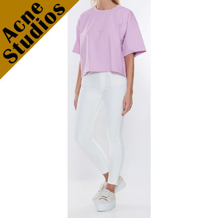 Acne Tシャツ・カットソー Acne*Cylea ロゴ付 ボクシーフィット クロップドTシャツ(12)