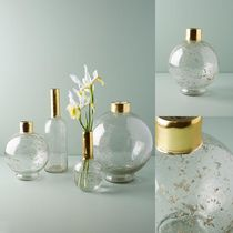関税送料込♪【Anthropologie】Gilded Vase☆Medium Round