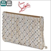 VIP SALE☆全込【ルブタン 】LOUBIPOSH METALLIC CANVAS CLUTCH