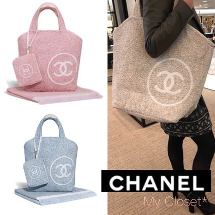 CHANEL トート ビーチバッグ パイル ポーチ タオル ロゴ ピンク