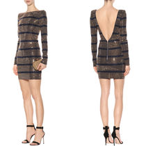 18SS BAL213 CRYSTAL EMBELLISHED STRIPE MINI DRESS