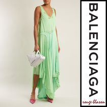 【国内発送】Balenciaga ドレス Round-neck draped dress