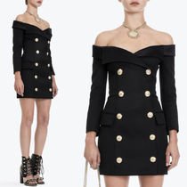 18SS BAL215 DOUBLE BREASTED OFF SHOULDER MINI DRESS
