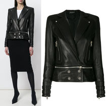 18SS BAL238 CREST EMBOSSED LEATHER BIKER JACKET