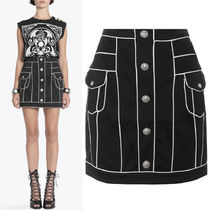 18SS BAL248 HIGH WAISTED COTTON MINI SKIRT WITH PIPING