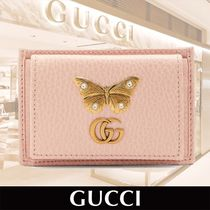 GUCCI Logo and Butterfly Applique Leather Cardholder