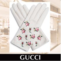 GUCCI Floral-embroidered Leather Gloves 関税送料込