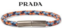 ★関税負担★PRADA★Woven Leather and Gunmetal-Tone Bracelet