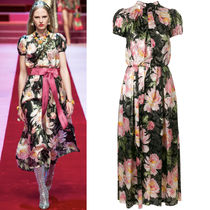 18SS DG1512 LOOK47 FLORAL JACQUARD DRESS WITH JEWELED BUTTON
