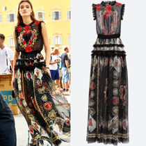18SS DG1517 HEART & CARDS PRINT SILK CHIFFON LONG DRESS