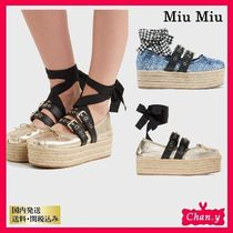 送料・関税込み☆MiuMiu leather platform espadrilles 2色展開