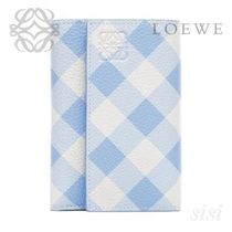 LOEWE★ロエベ Small Vertical Wallet Gingham Soft Blue