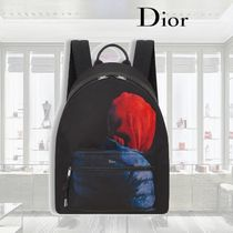 【18SS】Dior/ブラックナイロン/リュックサック/プリント入り
