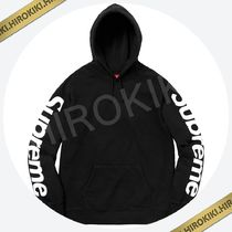 Mサイズ★Supreme Sideline Hooded Sweatshirt 袖ロゴ Black 黒