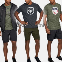 UNDER ARMOUR (アンダーアーマー ) Tシャツ・カットソー UNDER ARMOUR◆メッシュ 迷彩 エンブレムプリントTシャツ・送込