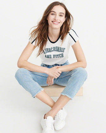 Abercrombie & Fitch Tシャツ・カットソー ★Abercrombie & Fitch★レディースロゴ入り袖ストライプTシャツ(2)