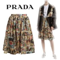 【18SS】大注目!!★PRADA★Comic-print flared skirt