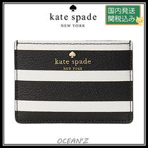 ☆hyde lane stripe card holder☆ ブラック/クリーム系