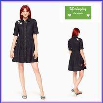 【kate spade】フリルが可愛い♪embroidered denim shirtdress★