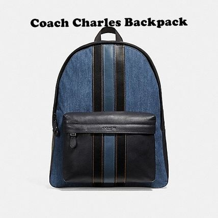 Coach(コーチ) CHARLES BACKPACK WITH VARSITY STRIPE STYLE