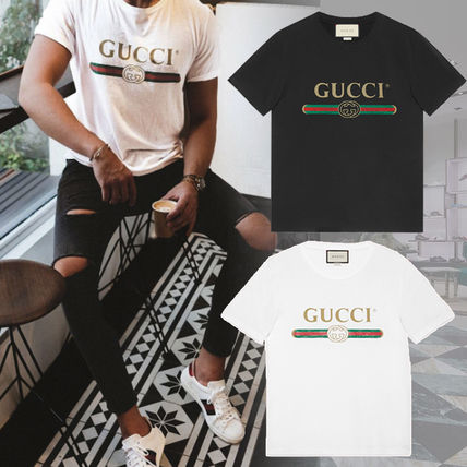 GUCCI Tシャツ・カットソー 大人気!【送料込】18SS★GUCCI★ヴィンテージロゴ Tシャツ 白黒