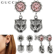 【正規品保証】GUCCI★18春夏★ANGRY CAT HEAD&CRYSTAL EARRINGS