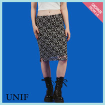 【UNIF】90sフラワープリントひざ丈ニットスカート☆DOLLY SKIRT