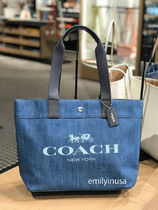 4月新作 COACH★DENIM CANVAS TOTE F25902*デニム製