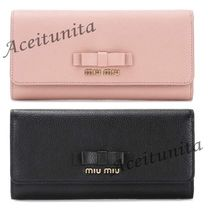 【MIU MIU】*Madras Leather Wallet with Bow*2色【送料込】