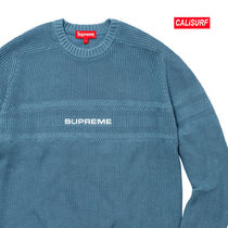 WEEK6★SUPREME Cheast Stripe Raglan Sweate-DUSTY BLUE/XL