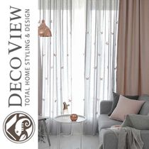 DECO VIEW★BUTTERFLY EMBROIDERY INSIDE CURTAIN+COVER CURTAIN