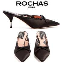 【18SS】大注目!!★Rochas★Bow-embellished satin mules