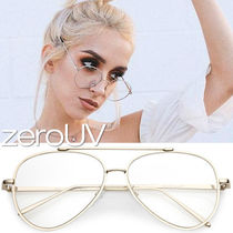 全2色*zeroUV*RETRO MODERN TEARDROP CLEAR FLAT LENS GLASSES