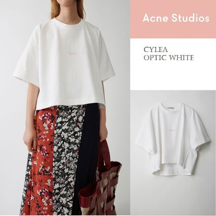 Acne Tシャツ・カットソー [Acne] Cylea white T-shirt フロントロゴ入ボクシーTシャツ