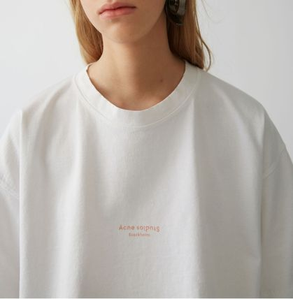 Acne Tシャツ・カットソー [Acne] Cylea white T-shirt フロントロゴ入ボクシーTシャツ(3)