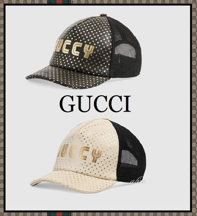 【2018ss 最新作!!】GUCCI★GUCCY プリント レザーキャップ