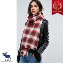 ◆Abercrombie&Fitch アバクロ プリント チェック スカーフ Red