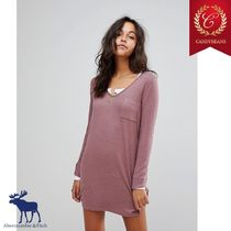 ◆SALE! Abercrombie&Fitch アバクロ ポケット 長袖 ドレス Pink
