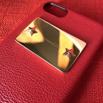 enchanted.LA STAR STUDDED MIRROR PLATE iPhone CASE RED×GOLD
