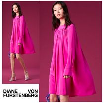 セール!DVF★ Long-Sleeve Crew Neck Tent Dress シルクドレス