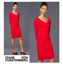 セール!DVF★Long-Sleeve V-Neck Knit Dress美スタイルニット