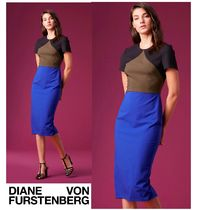セール!DVF★Short-Sleeve Tailored Midi Dress カラーブロック