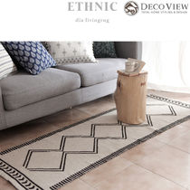 DECO VIEW★ETHNIC Dia Living Rug コットン両面ラグ(200 *65)